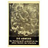 War Poster Abwher Defense Nazi Soldier Grenade Gun Bunker