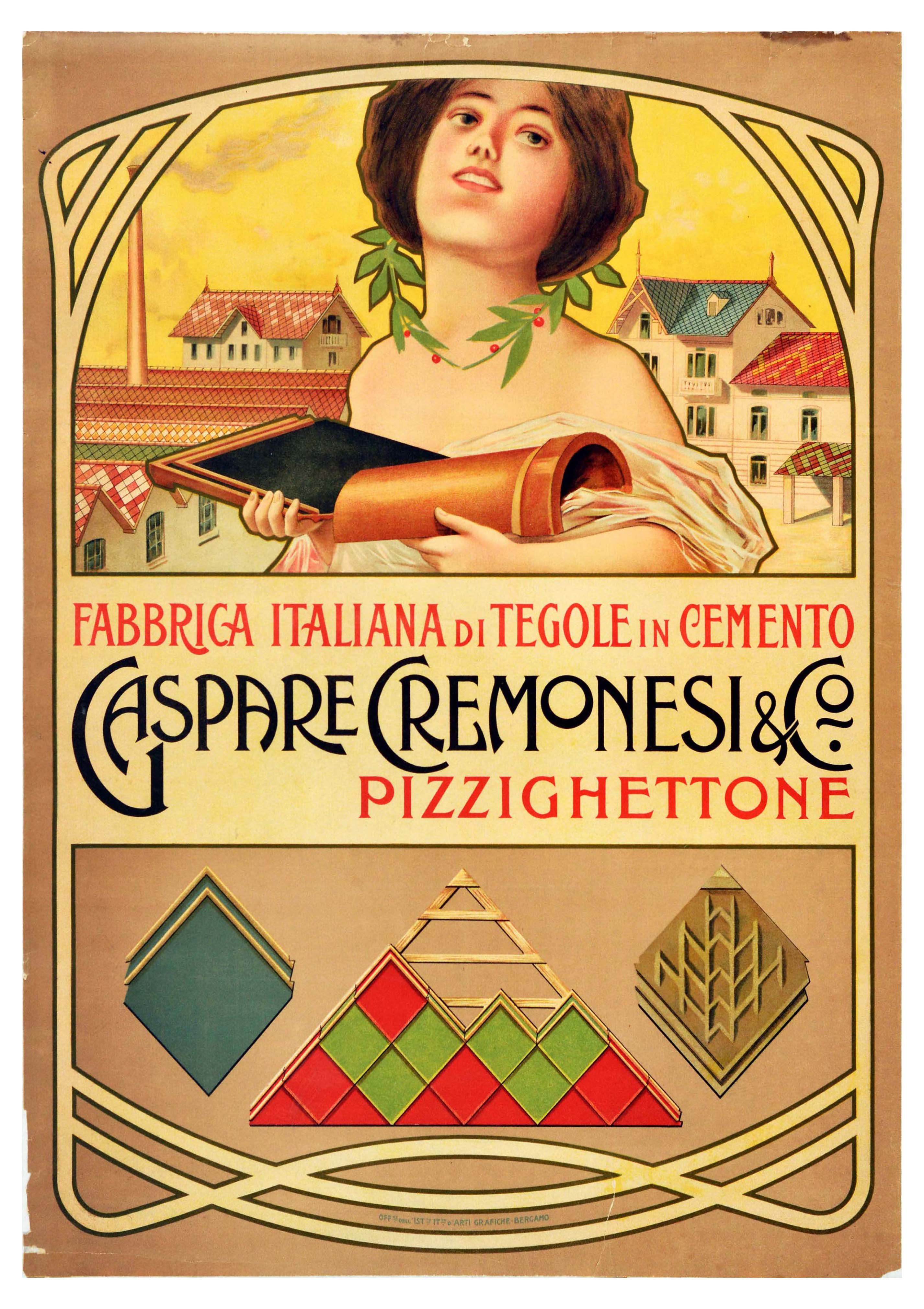 Advertising Poster Cement Roof Tiles Italy Gaspare Cremonesi