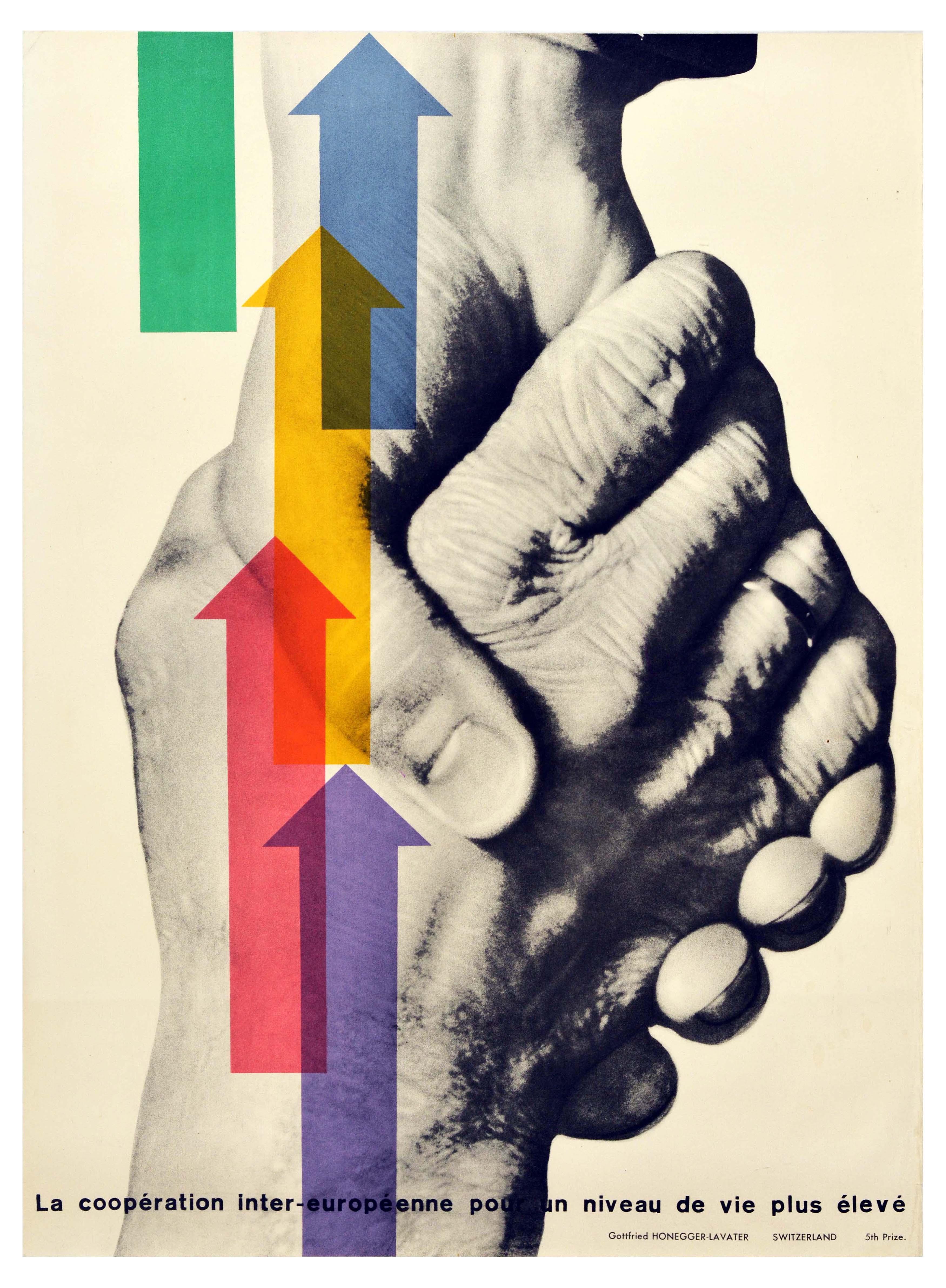Propaganda Poster ERP Marshall Plan European Living Standard Handshake