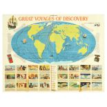 Travel Poster Typhoo Tea Great Voyages Map Discovery Globe