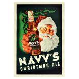 Advertising Poster Navy's Christmas Ale Santa Claus Beer