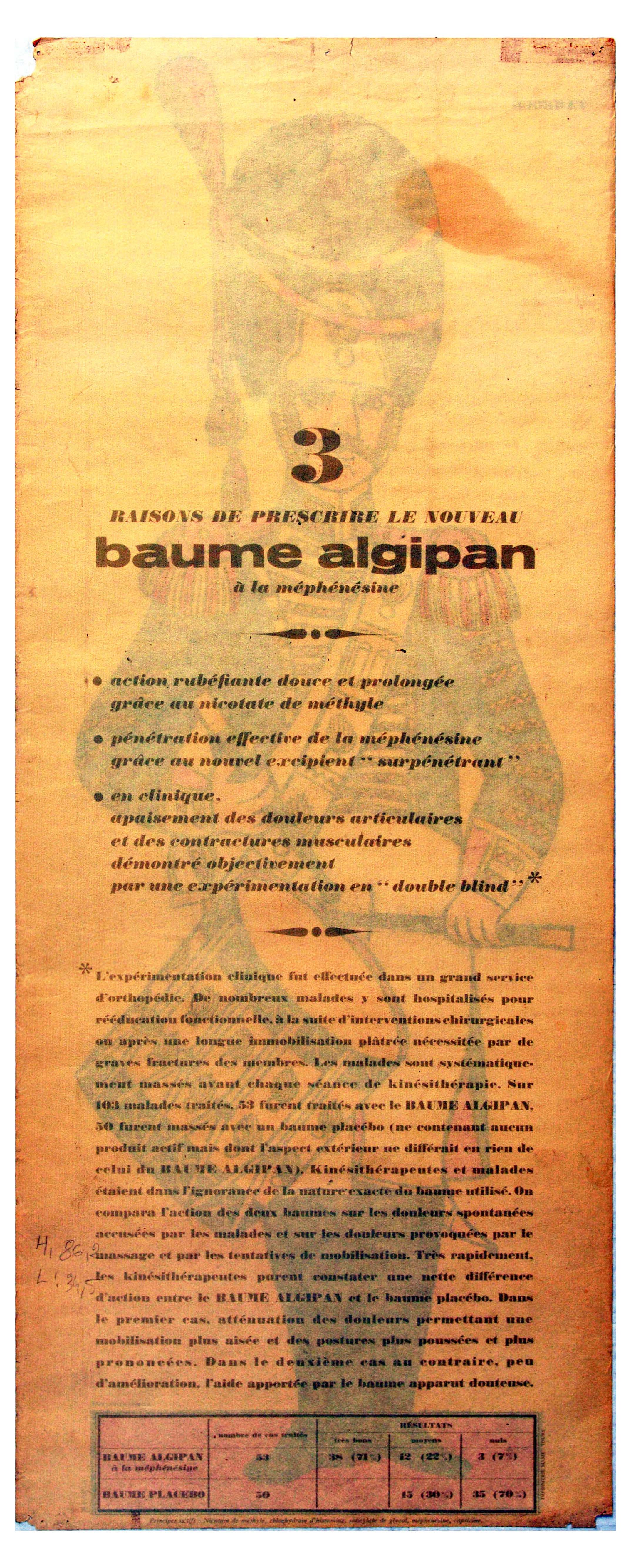 Advertising Poster Drummer Tambour Baume Algipan French Army Uniform - Image 2 of 2