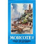 Travel Poster Morcote Lake Lugano Switzerland