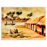 Travel Poster Fishing Huts Isle of Luanda Africa
