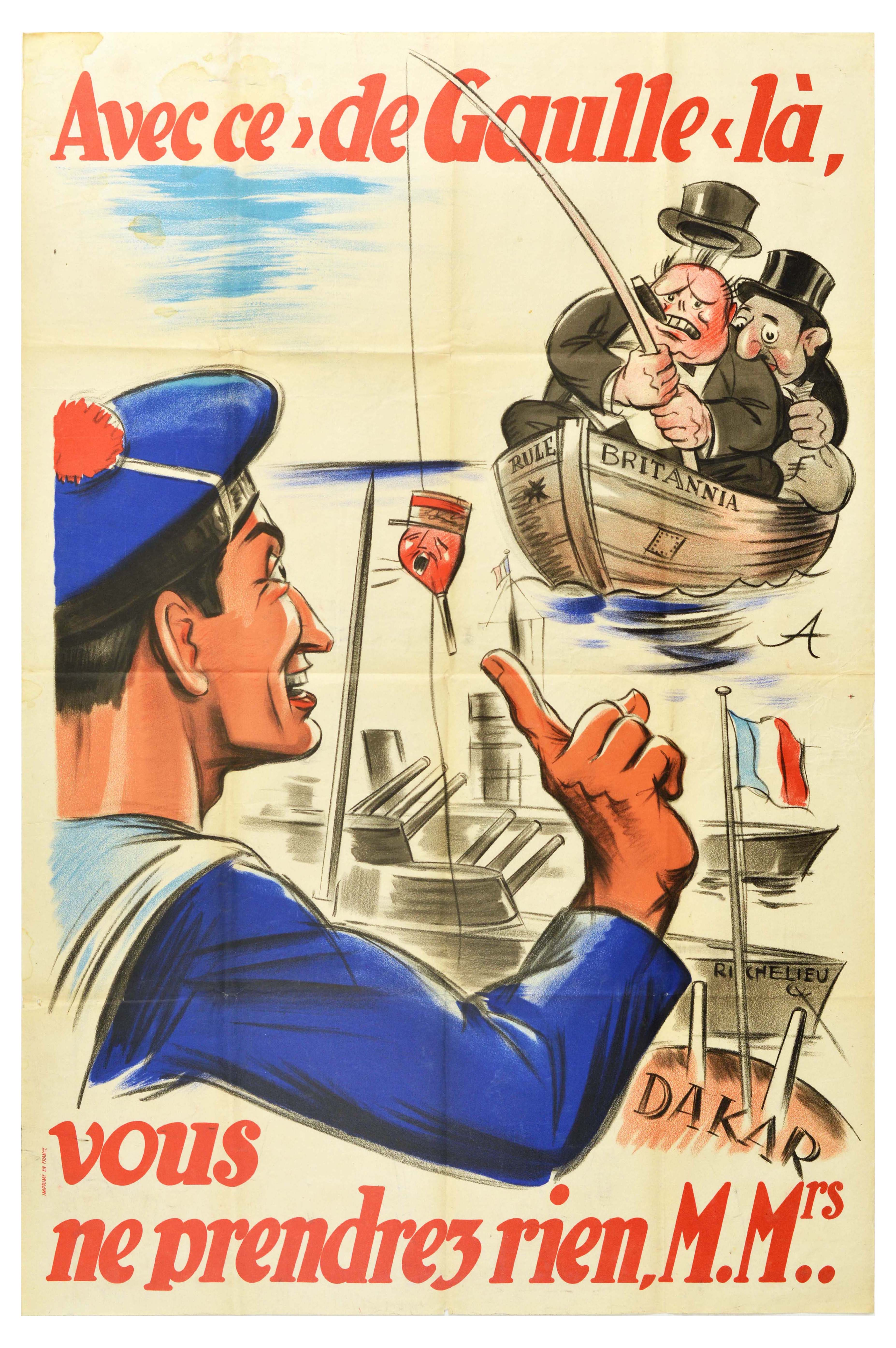 War Poster WWII Churchill de Gaulle Vichy Fishing West Africa