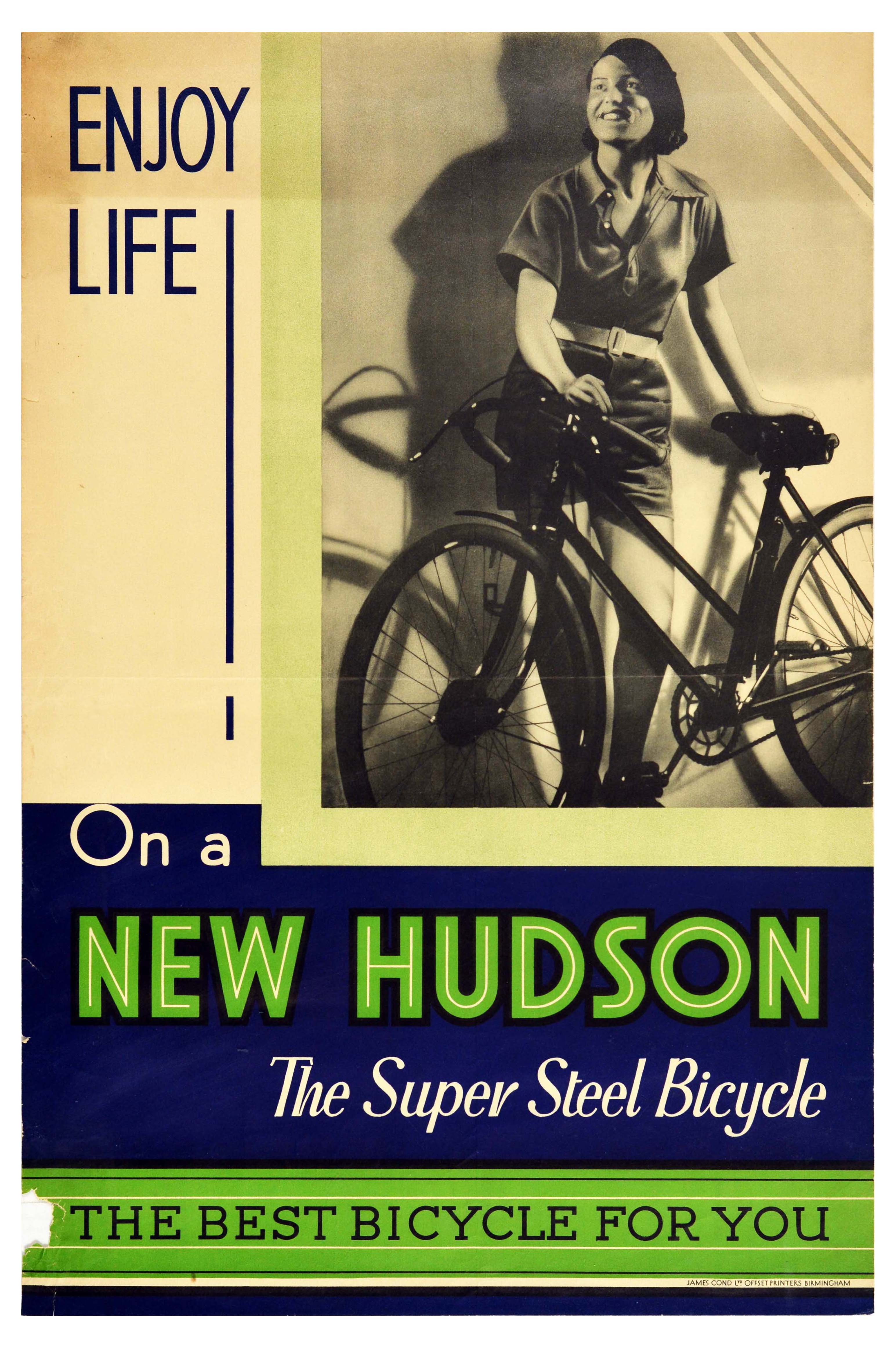 Advertising Poster New Hudson Super Steel Bicycle