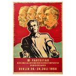 Propaganda Poster DDR Congress Socialist Germany Marx Engels Lenin Stalin