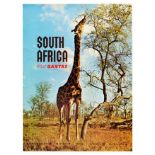 Travel Poster South Africa Fly Qantas Airline Australia