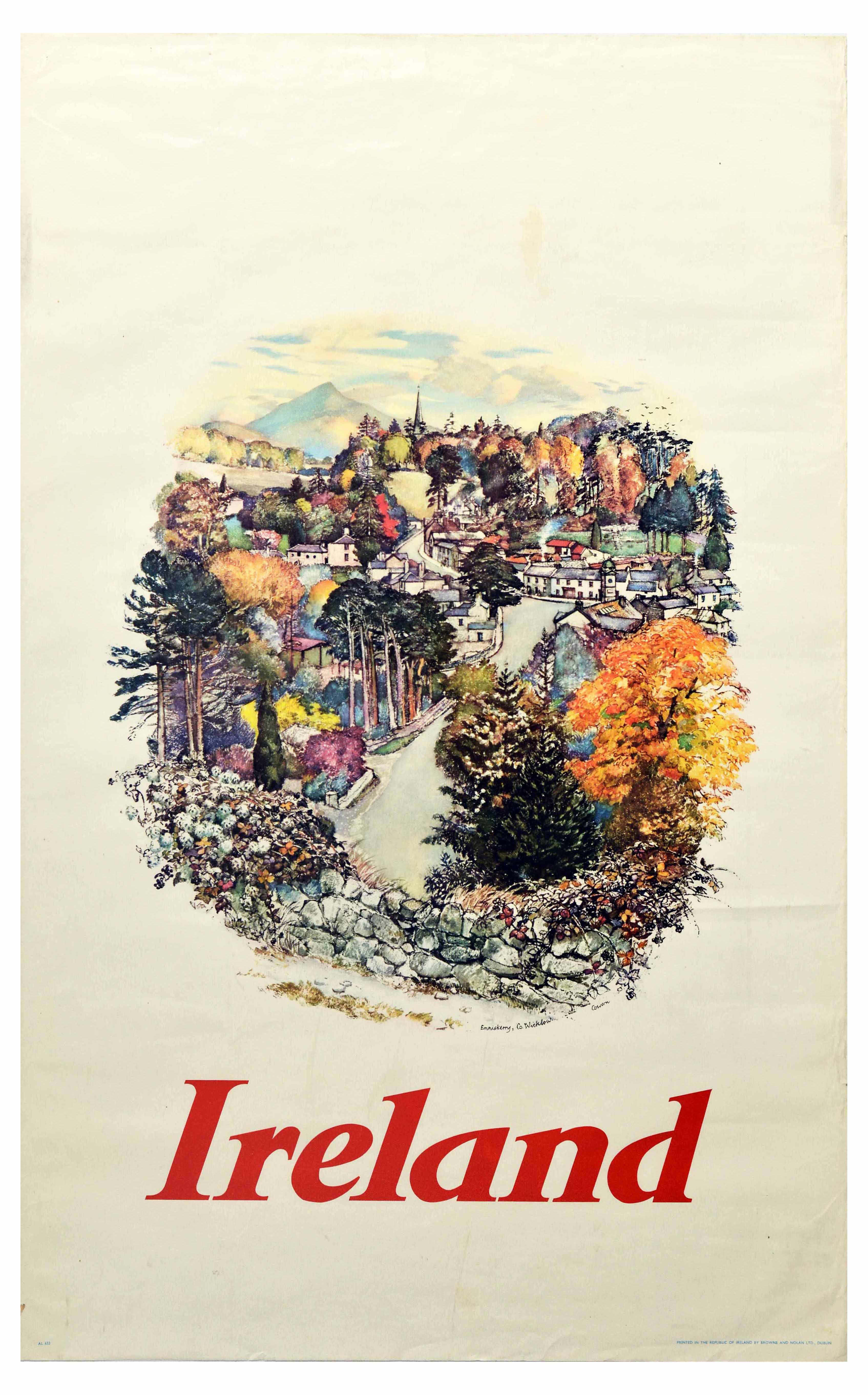 Travel Poster Ireland Enniskerry Village Wicklow Mountains Cowern