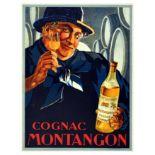 Advertising Poster Cognac Montangon Alcohol France