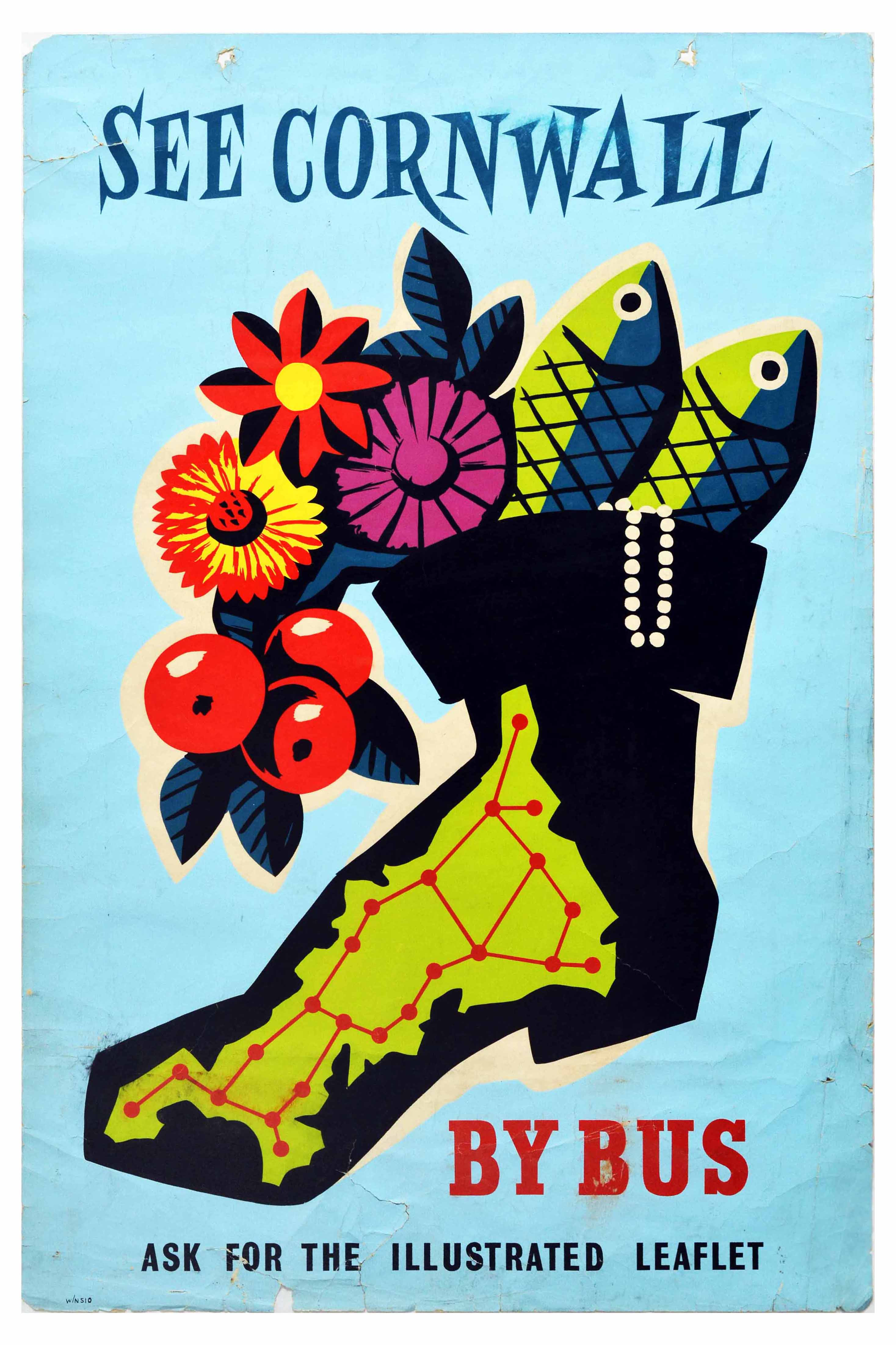 Travel Poster See Cornwall by Bus Midcentury Modern