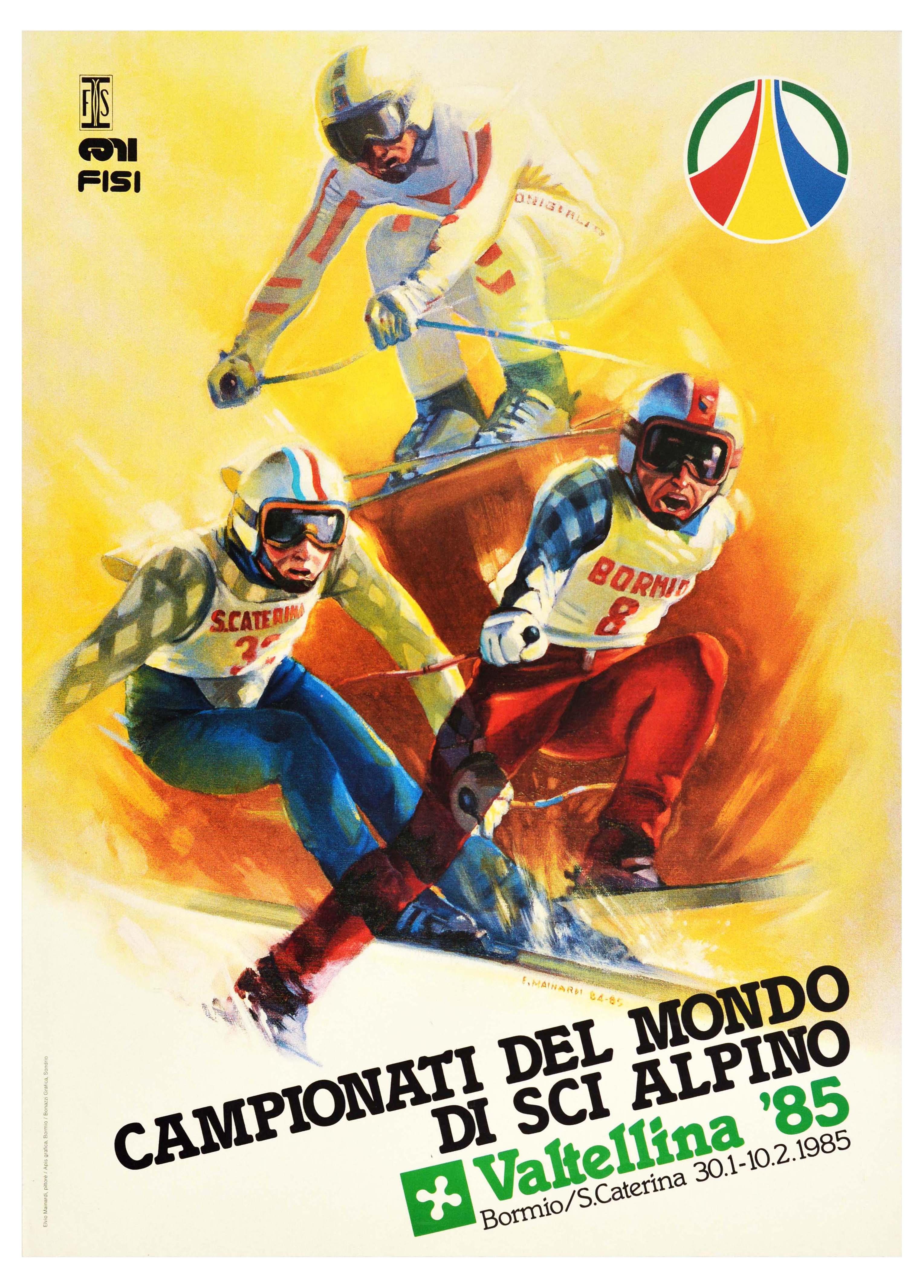 Sport Poster World Ski Championship Valtellina Bormio Italy