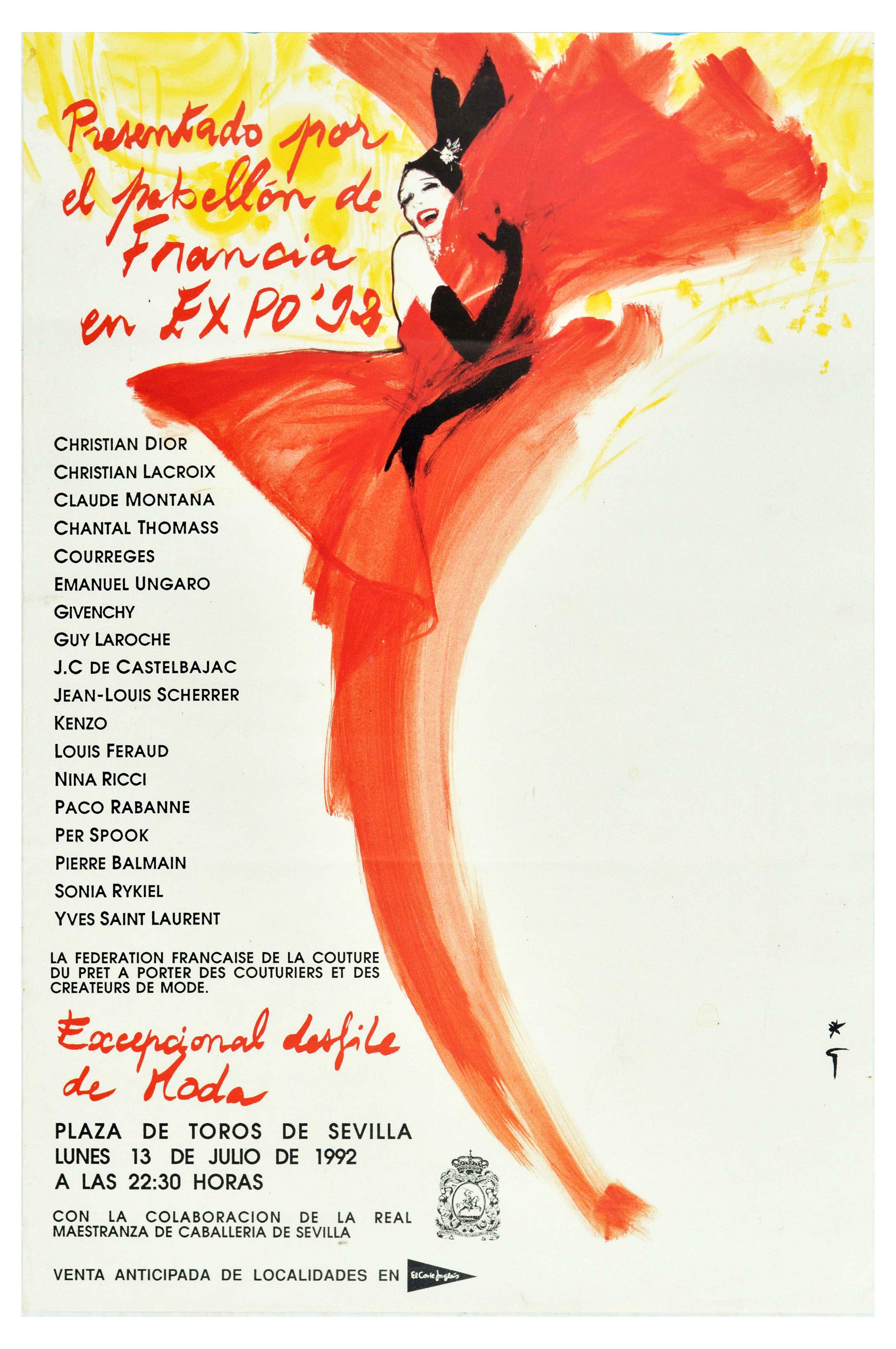 Advertising Poster Fashion Expo Seville Haute Couture Rene Gruau