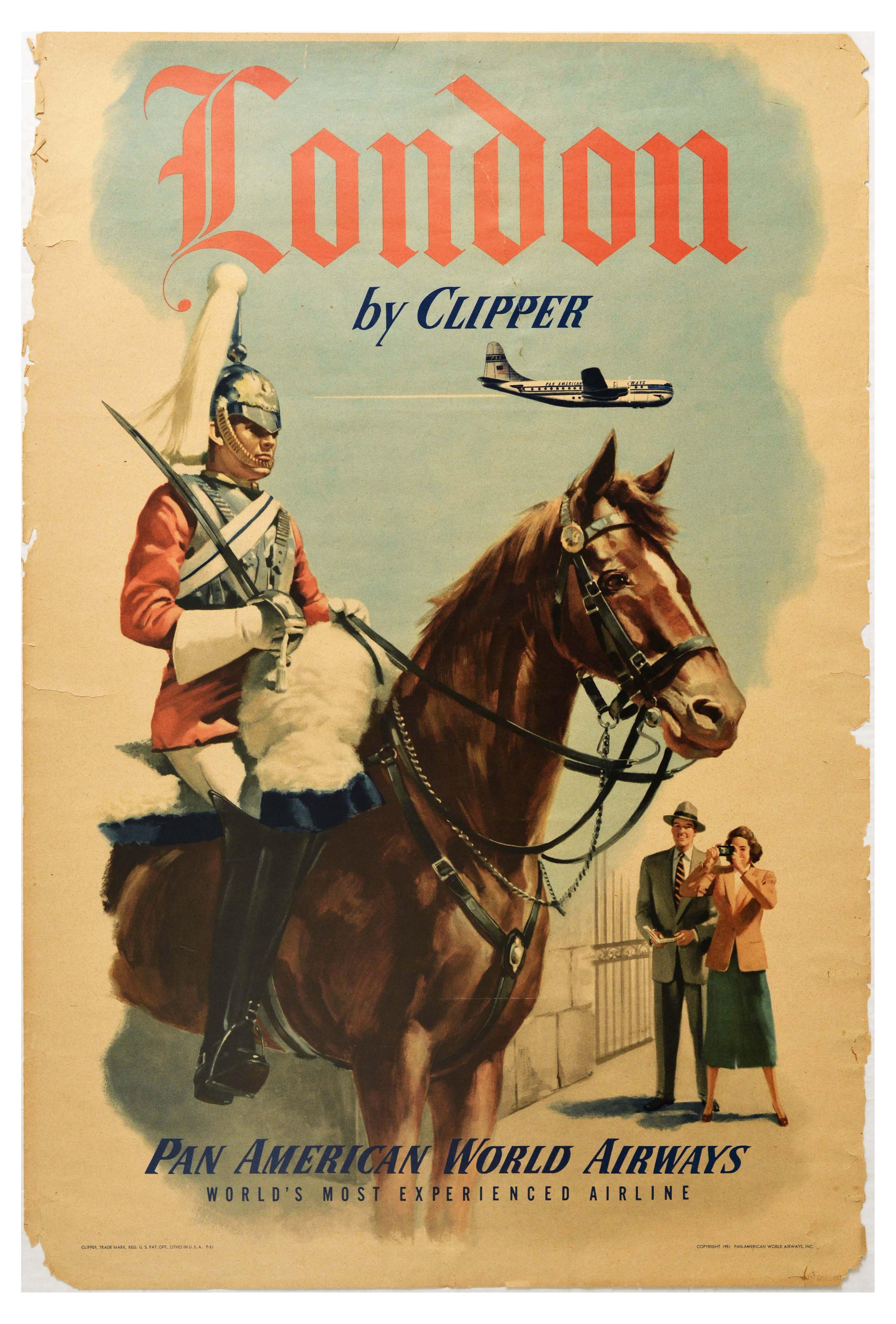 Travel Poster Pan Am London Clipper Royal Horse Guard