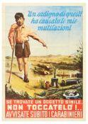 Propaganda Poster War Shells Danger Explosive Bomb Italy