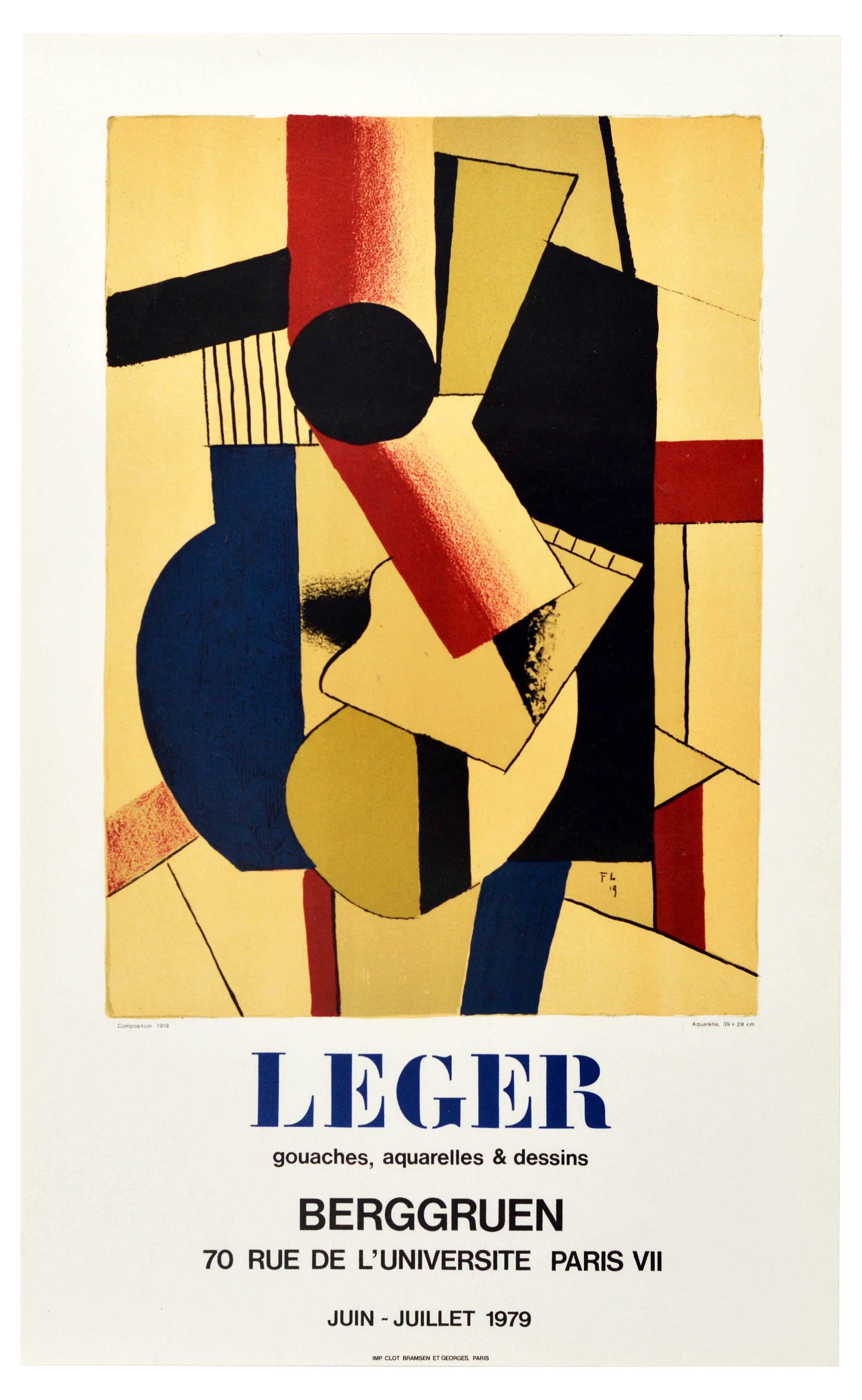 Advertising Poster Leger Berggruen Abstract Geometric Watercolour Composition