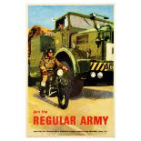 Propaganda Poster Regular Army Recruitment UK Soldier Motorcycle Military Truck