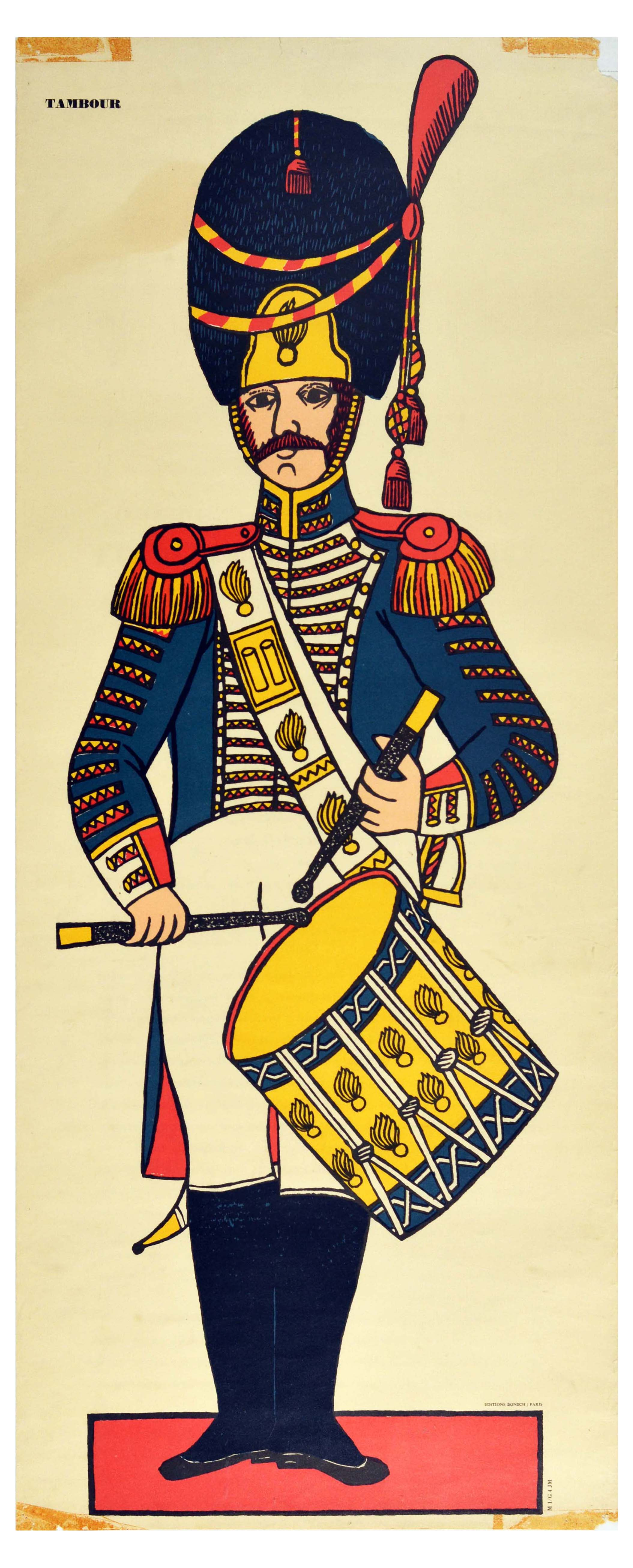 Advertising Poster Drummer Tambour Baume Algipan French Army Uniform