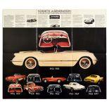Advertising Poster Chevrolet Corvette Sports Car Silver Anniversary