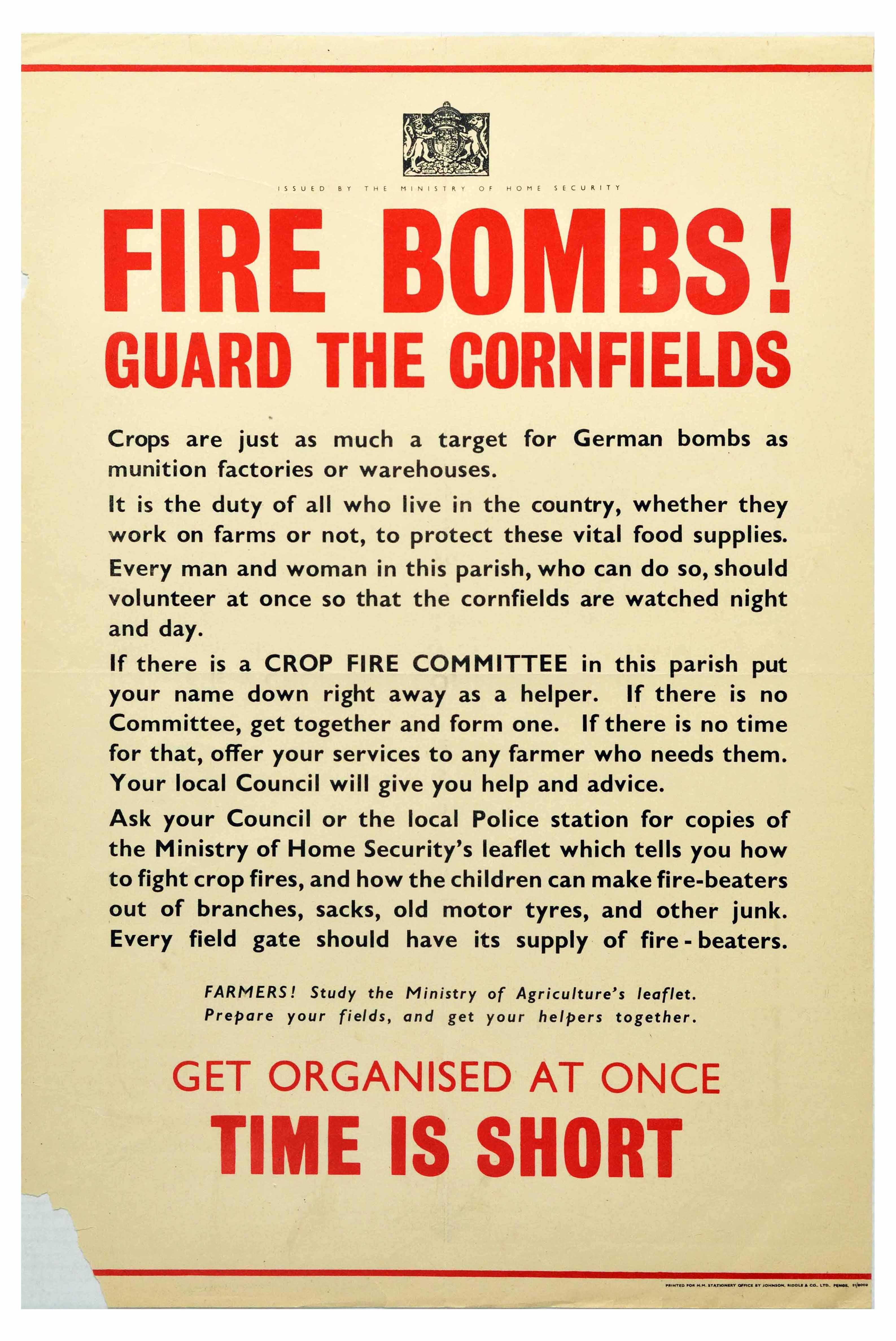 War Poster Fire Bombs Guard The Cornfields WWII UK