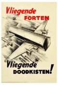War Poster Flying Coffins WWII Anti Allied Netherlands