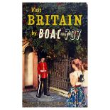 Travel Poster BOAC Airlines Queens Guard Rolls Royce 707