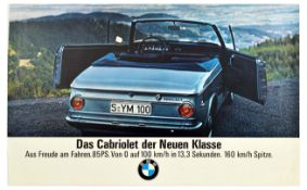 Advertising Poster BMW 1600 Cabriolet Sedan Coupe