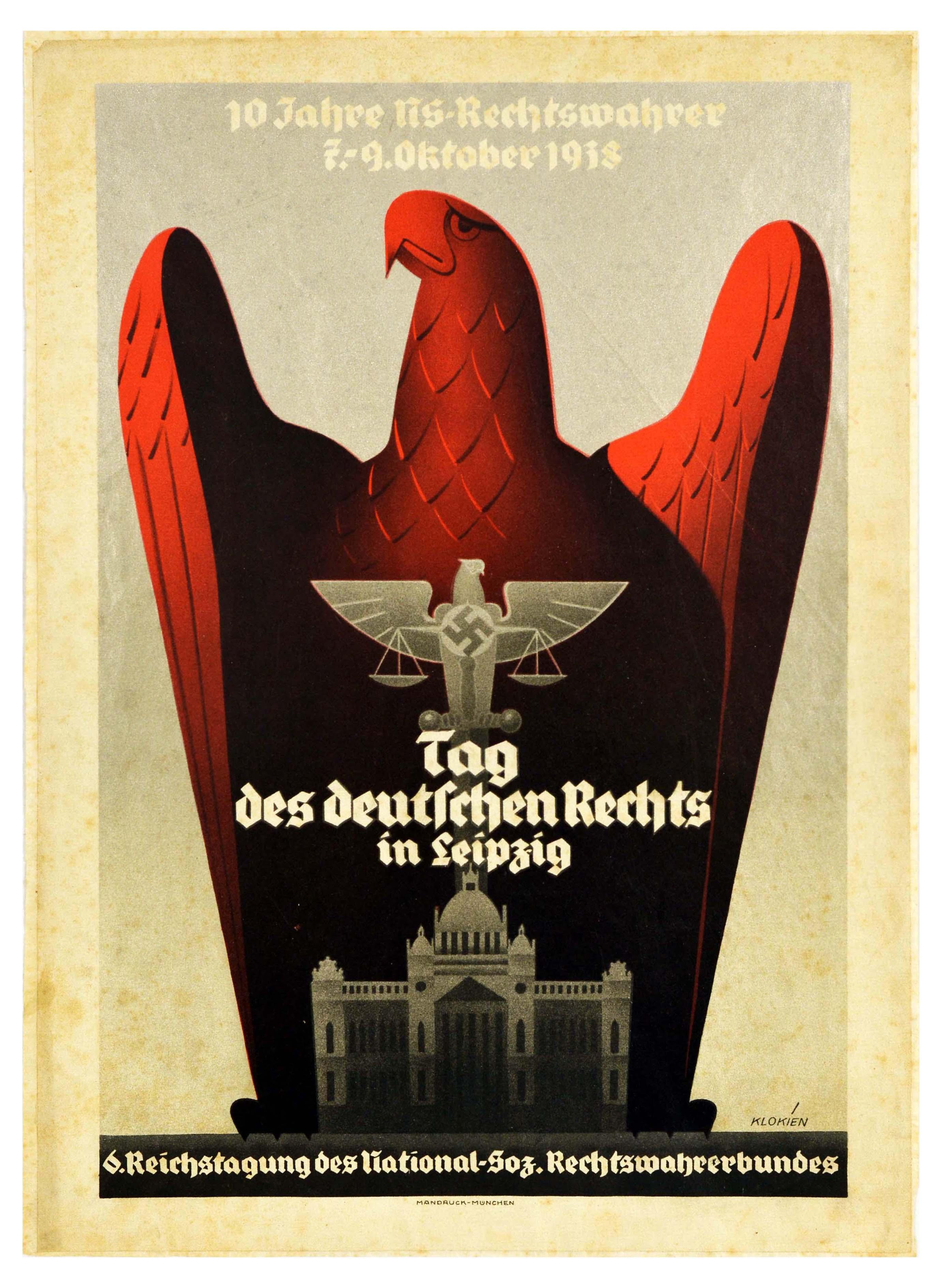 Propaganda Poster VSDAP Nazi Germany Law Day Leipzig