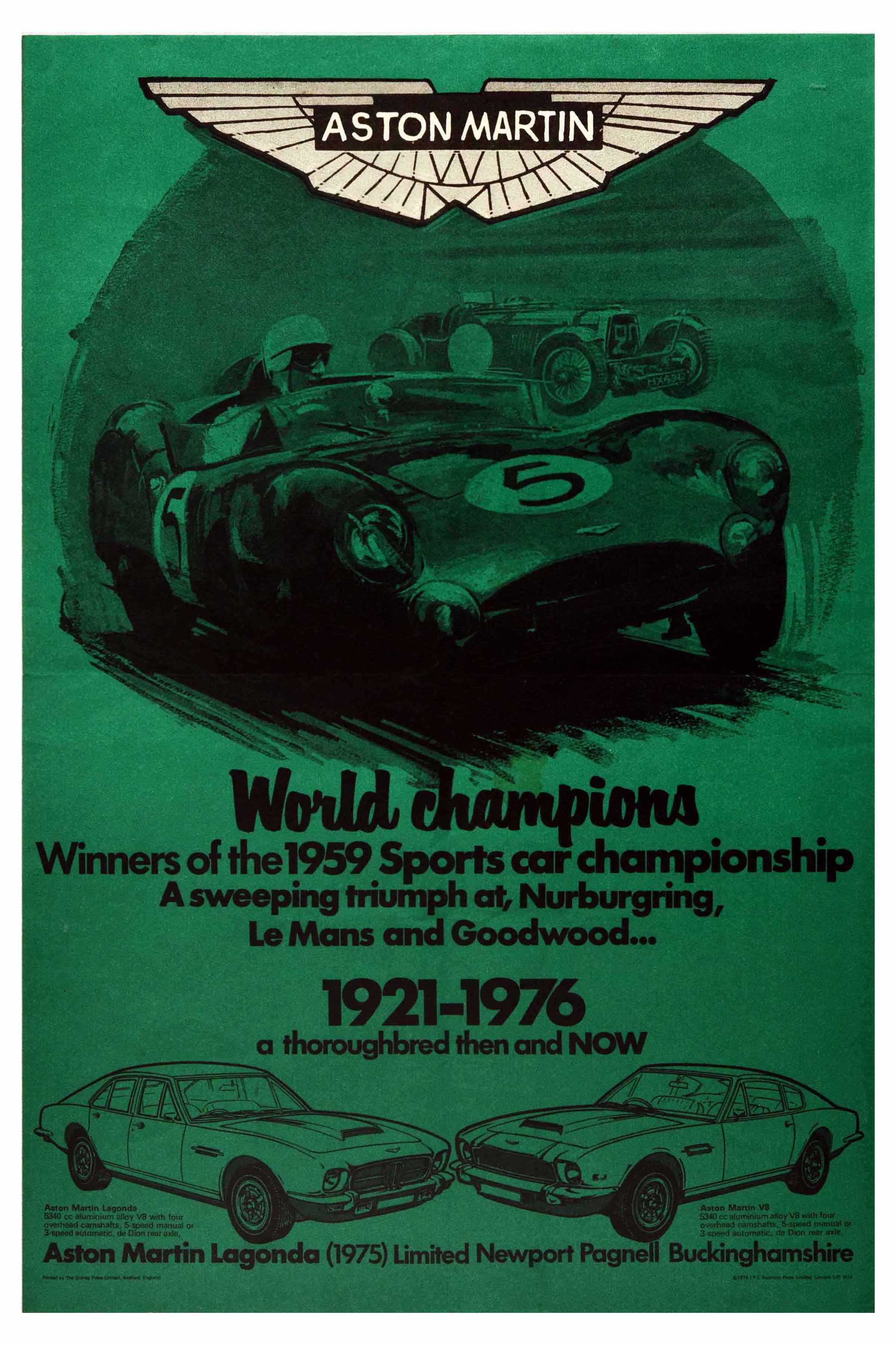 Advertising Poster Aston Martin Le Mans Lagonda Nurburgring Goodwood