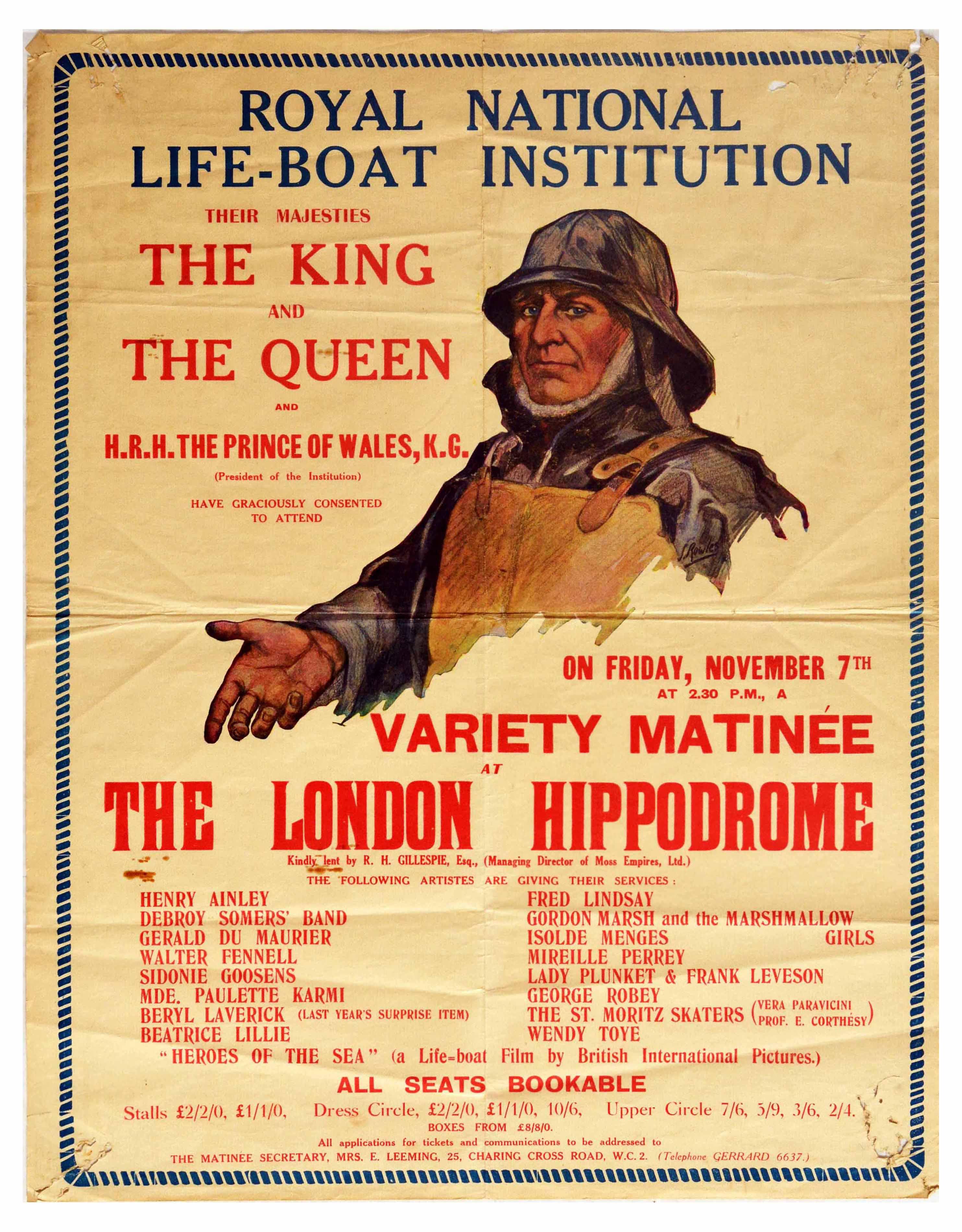 Advertising Poster RNLI Royal Variety Matinee London Hippodrome