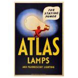 Advertising Poster Atlas Lamps Lighting Art Deco