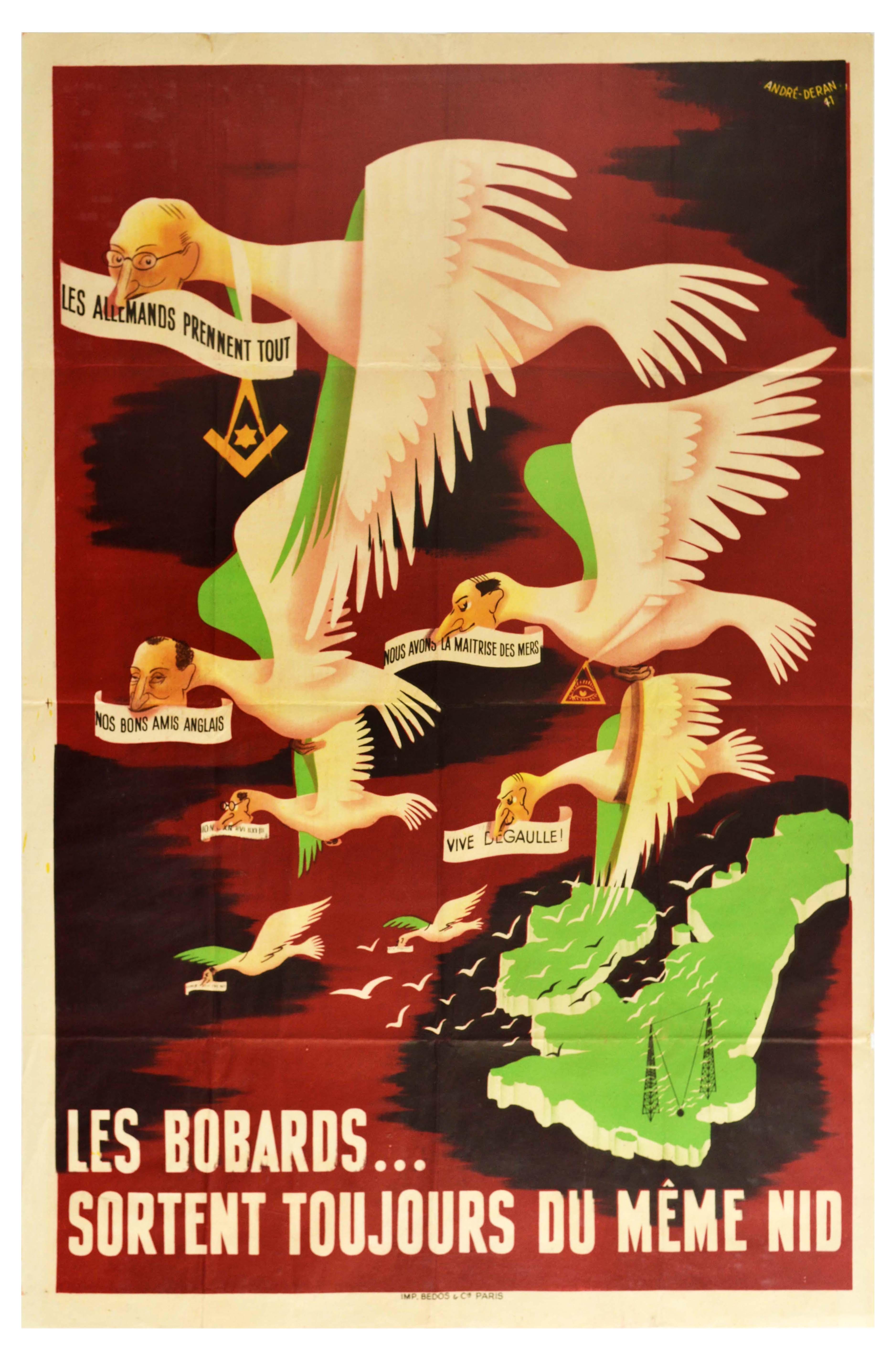 War Poster WWII British Radio De Gaulle Blum Daladier Vichy