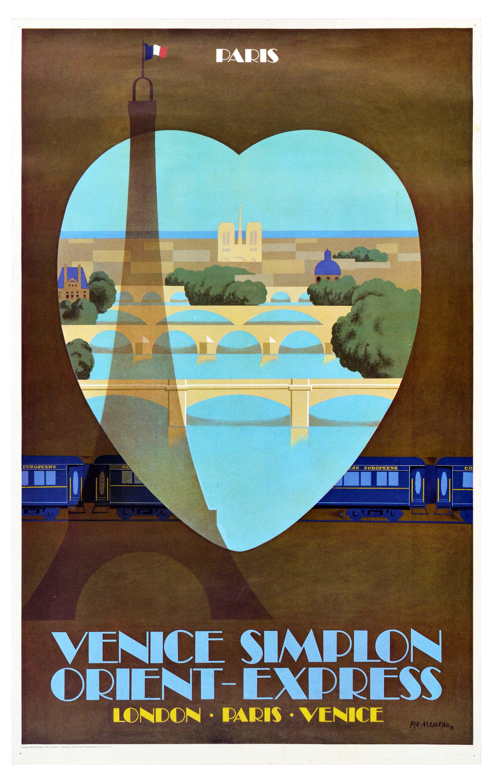 Travel Poster Paris Venice Simplon Orient Express Railway Art Deco Eiffel Tower