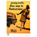 Propaganda Poster Turning Traffic Pedestrians RoSPA Road Safety UK Car