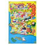 Travel Poster Los Angeles Tourist Map Hollywood Beverly Hills