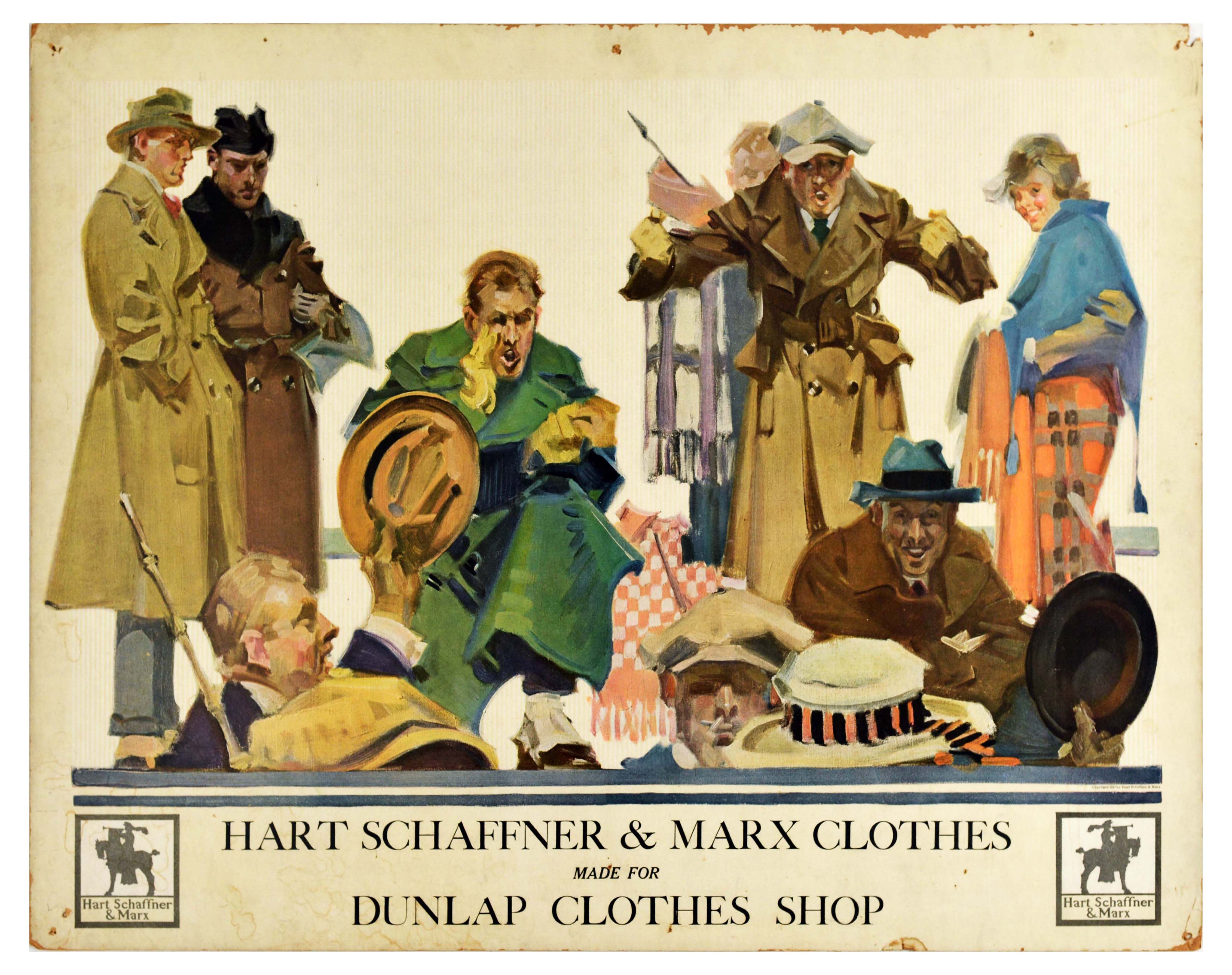 Advertising Poster Hart Schaffner Marx Art Deco Fashion Clothes Races