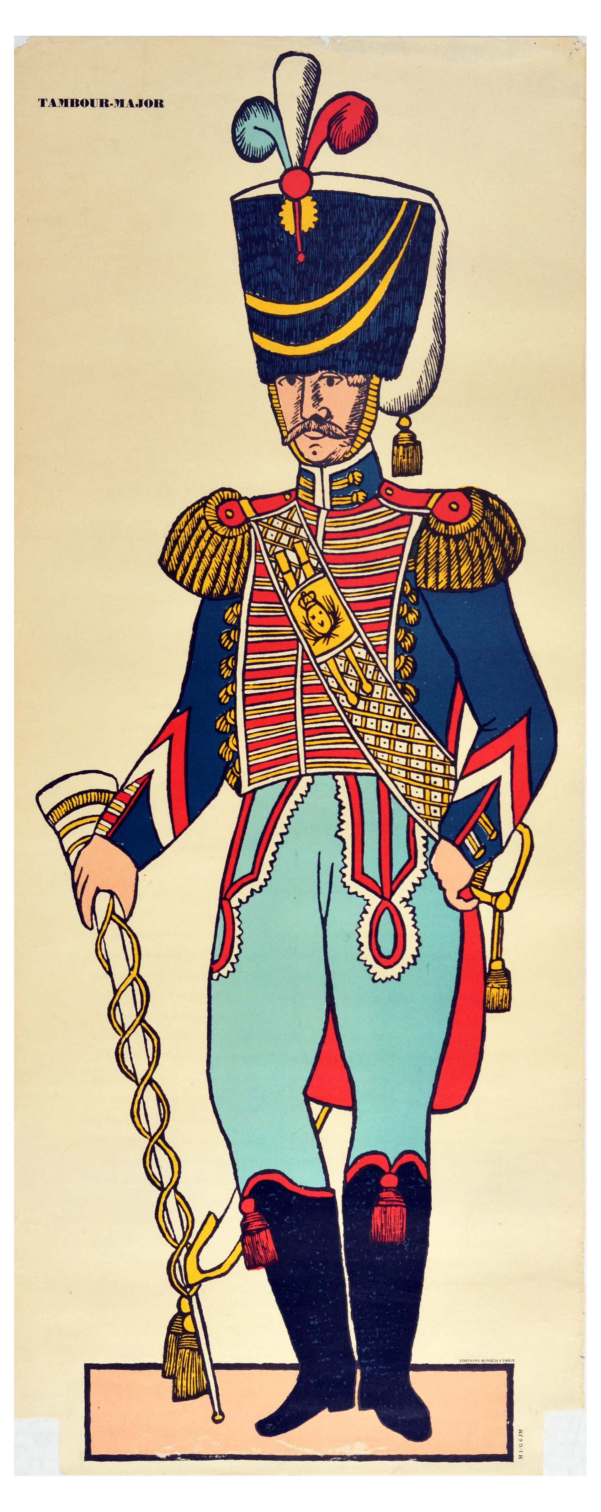 Advertising Poster Drum Major Tambour Major Baume Algipan French Army Uniform