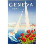 Travel Poster Geneva Lake Switzerland Yacht Jet d'Eau
