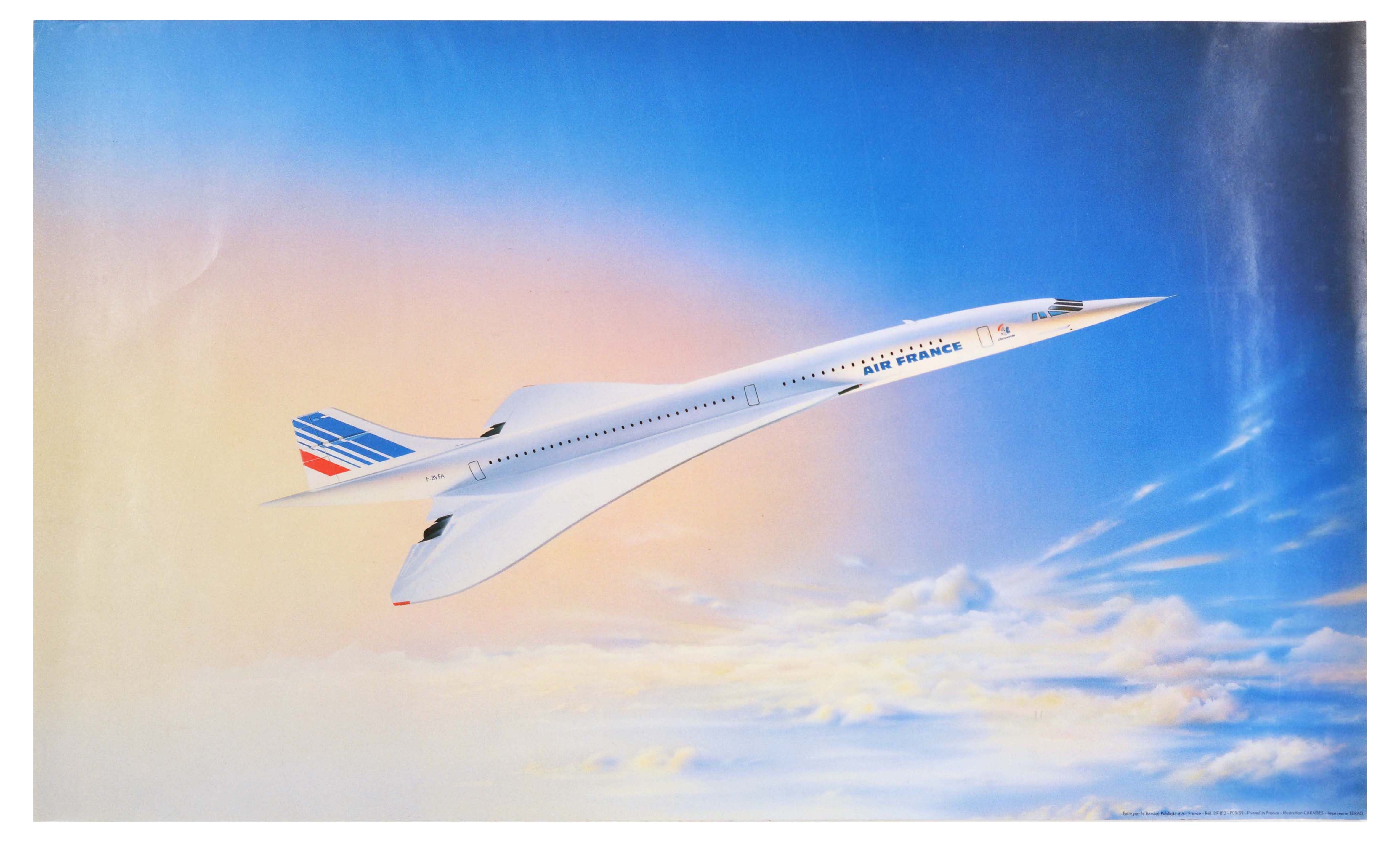 Travel Poster Air France Airline Concorde Sky