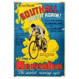 Advertising Poster Hercules Bicycles Frank Southall Does It Again