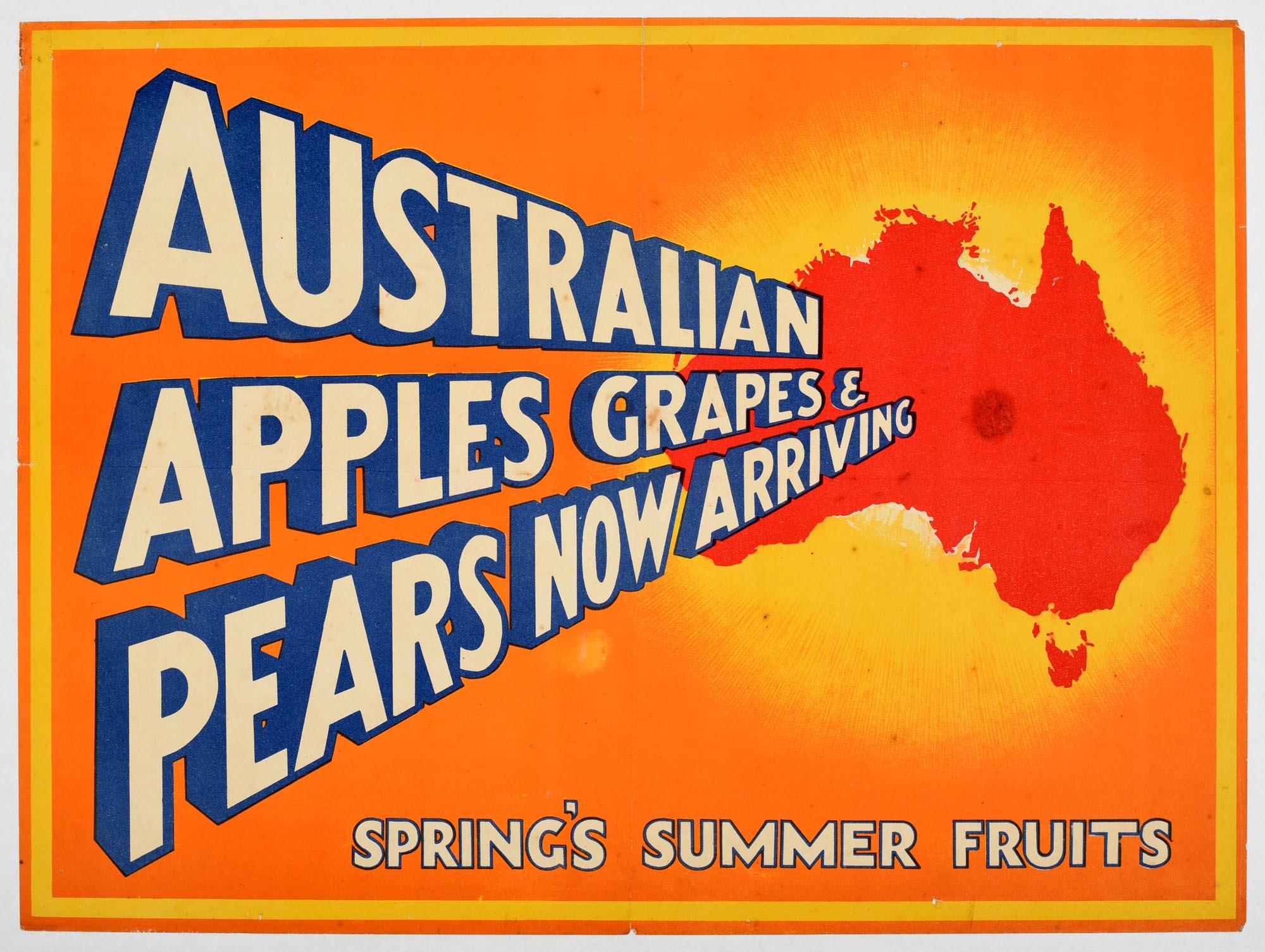 Advertising Poster Australian Apples Grapes Pears
