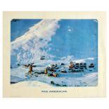 Travel Poster PanAm Sestriere Ski Resort Piemonte Italy Pan American Airlines