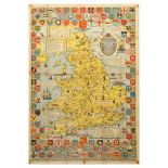 Travel Poster Illustrated Map Historical England Wales Bullock