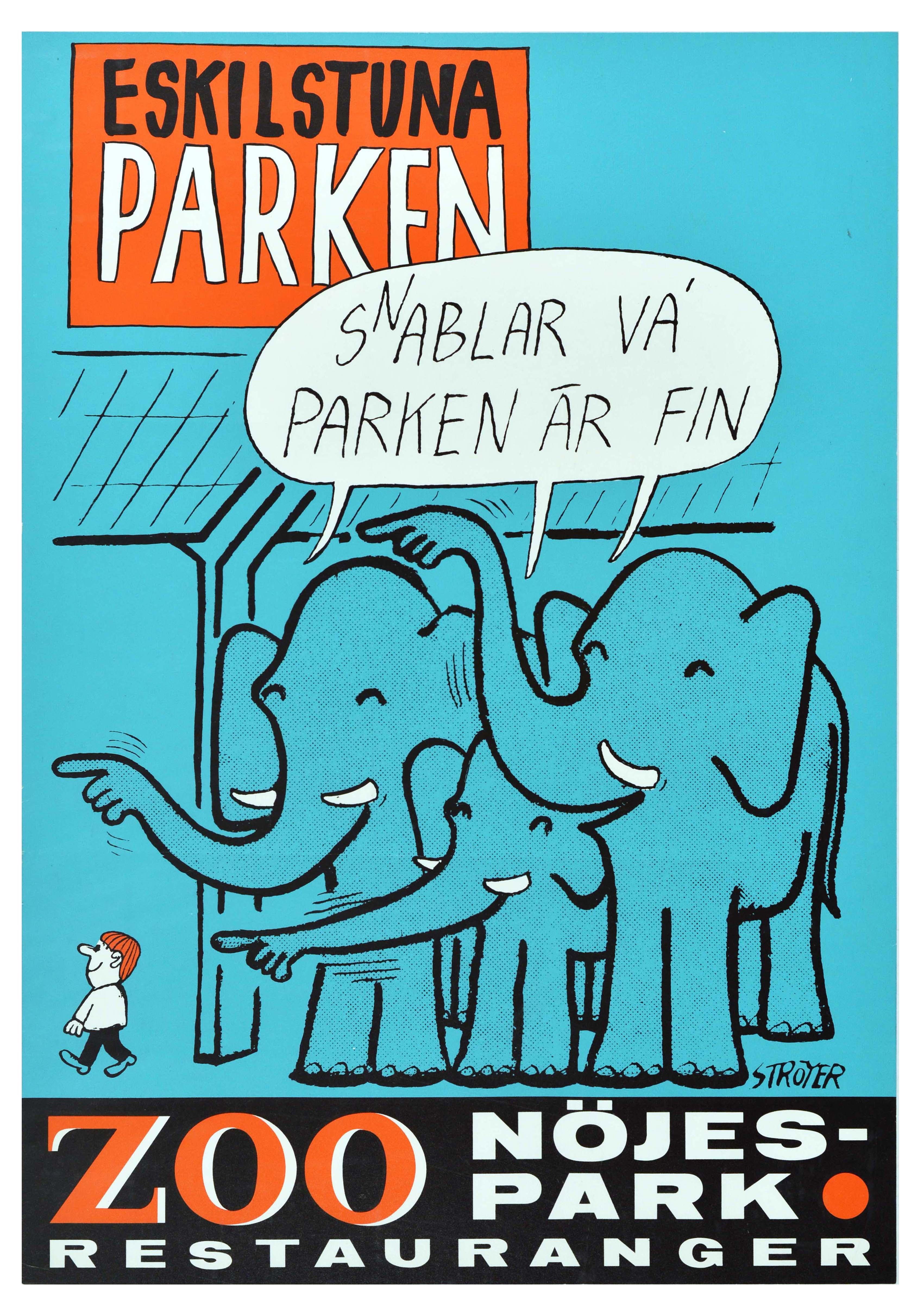 Travel Poster Eskilstuna Park Zoo Restaurant Elephant Sweden
