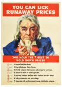 War Poster Uncle Sam You Can Lick Runaway Prices