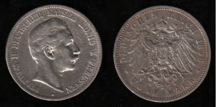 Deutsches Reich. Silbermünze. 5 Mark. Wilhelm II., Deutscher Kaiser. A 1898. Vorderseite: Porträt Wi