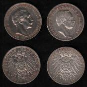 Deutsches Reich. Silbermünze. 3 Mark. Friedrich August III., König von Sachsen. E 1909. Vorderseite: