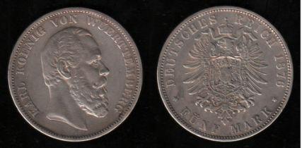 Deutsches Reich. Silbermünze. 5 Mark. Karl, König von Württemberg. F 1876. Vorderseite: Porträt Köni