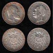 Deutsches Reich. Silbermünze. 3 Mark. Wilhelm II., König von Württemberg. F 1909. Vorderseite: Portr