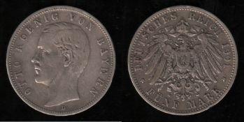 Deutsches Reich. Silbermünze. 5 Mark. Otto, König von Bayern. D 1901. Vorderseite: Porträt König Ott